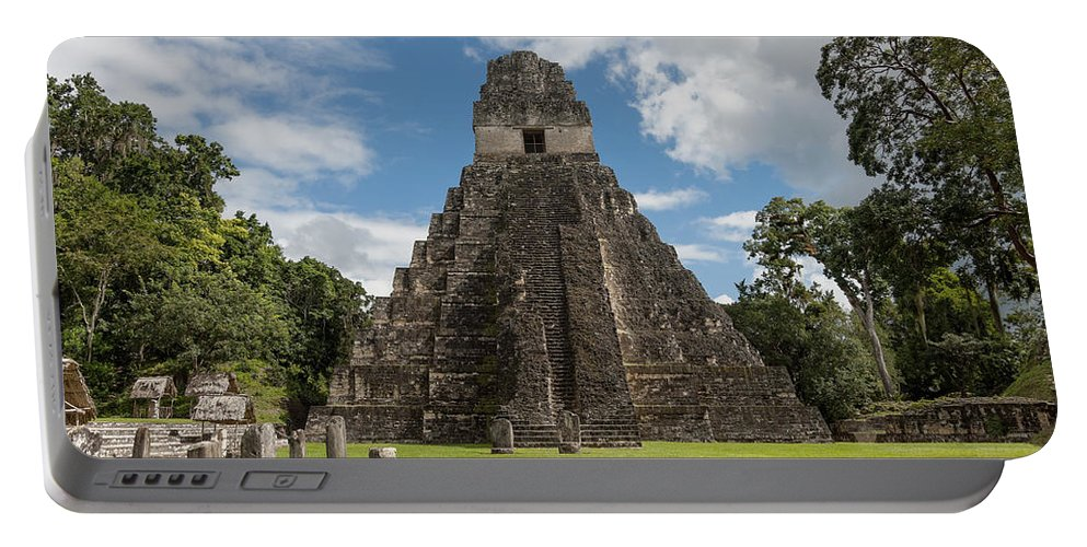 Belize Portable Battery Charger featuring the photograph Tikal Pyramid 1j by Michael Bessler