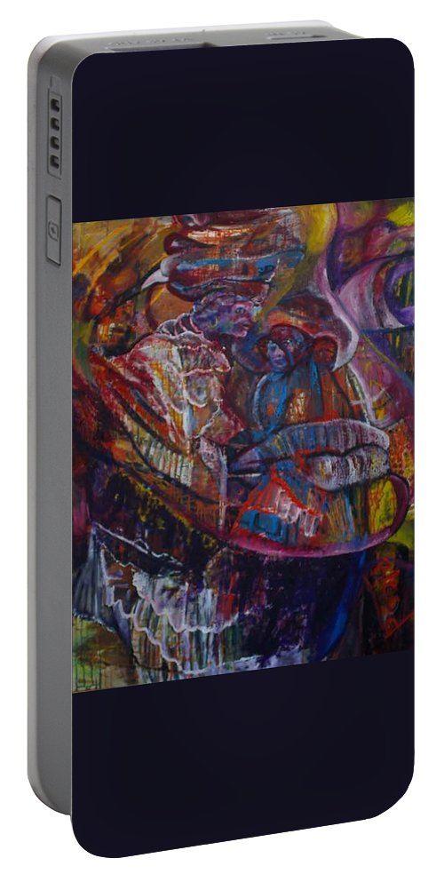 African Women Portable Battery Charger featuring the painting Tikor Woman by Peggy Blood