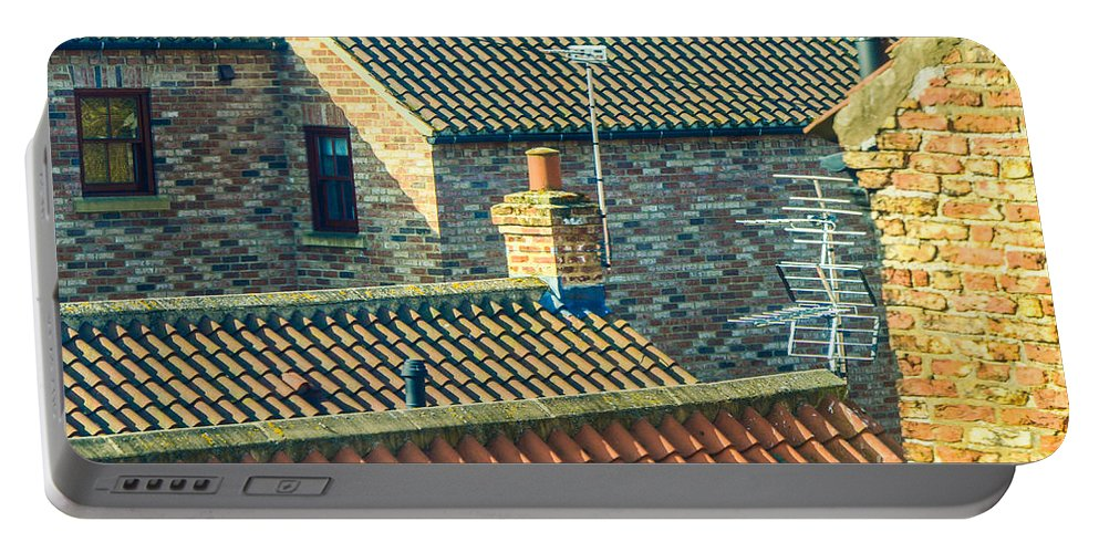 Aerial Portable Battery Charger featuring the photograph Tile Roofs - Thirsk England by Mary Carol Story