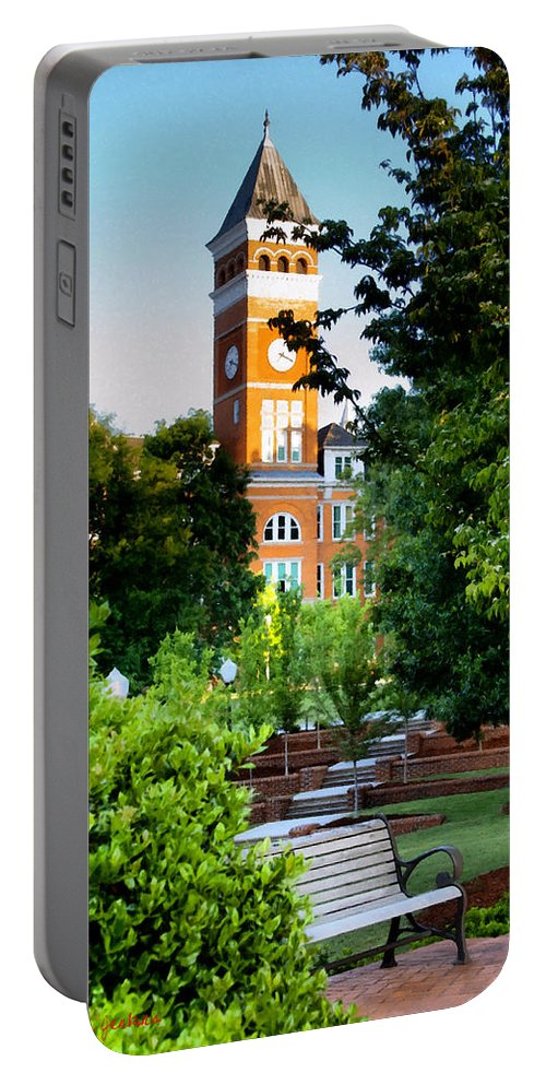 Clemson Portable Battery Charger featuring the painting Tillman Hall Early Morning by Lynne Jenkins