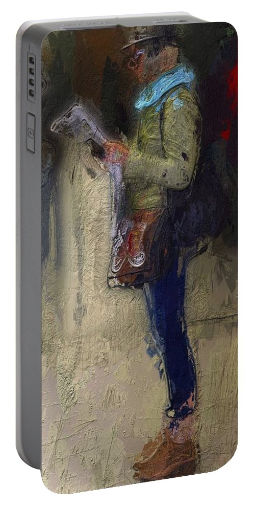 Girl Woman Female Newspaper Reading Break Waiting Portrait Urban Expressionism Portable Battery Charger featuring the painting Time For A Break by Steve K