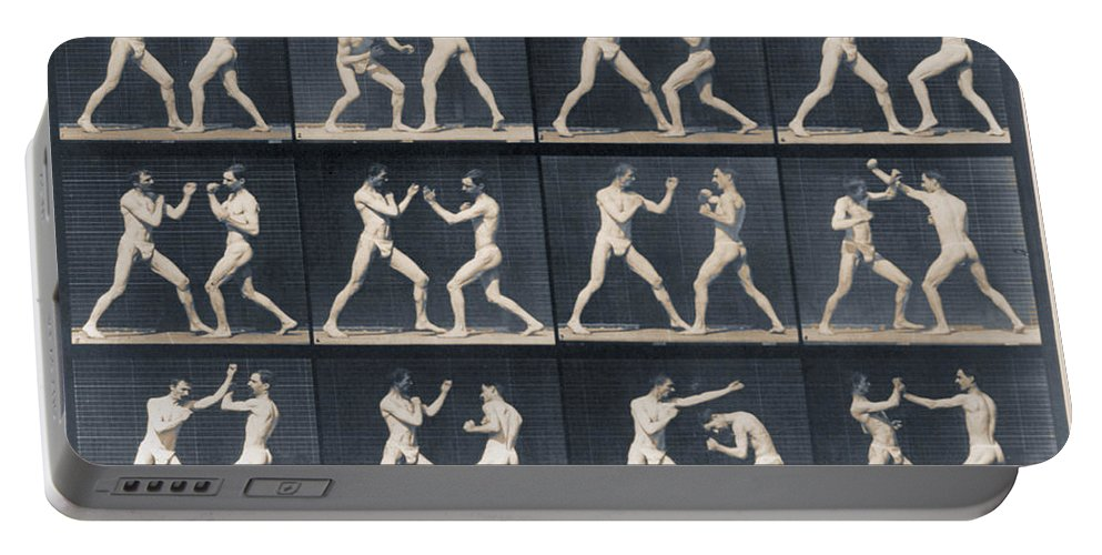 Man Portable Battery Charger featuring the painting Time Lapse Motion Study Men Boxing by Tony Rubino