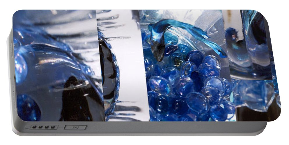 Abstract Portable Battery Charger featuring the photograph Time Line in Blue by Steve Karol
