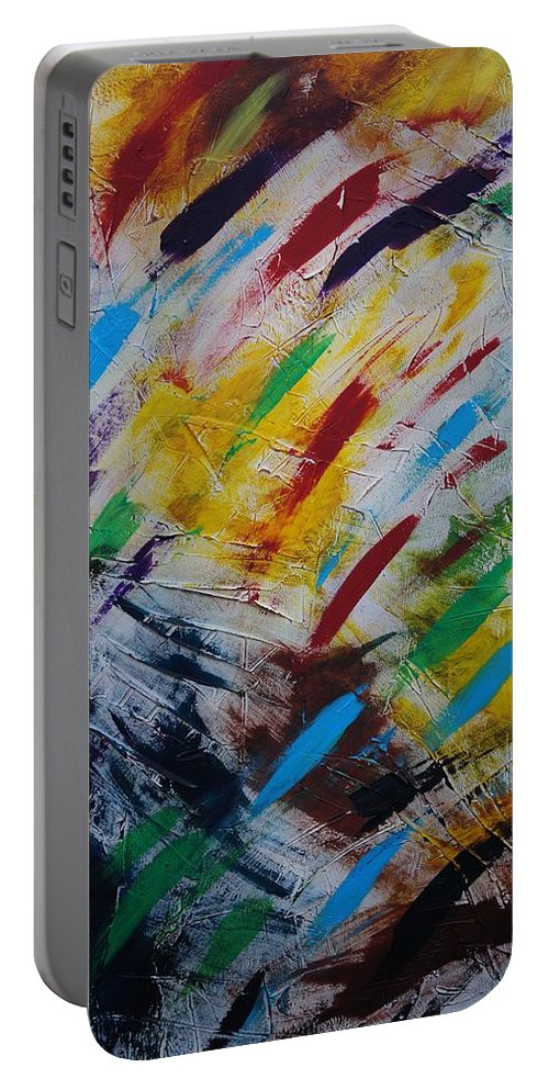 Abstract Portable Battery Charger featuring the painting Time stands still by Sergey Bezhinets
