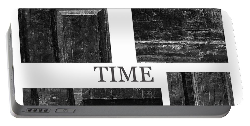 Time Door Doors Wooden Wood Scratches Old Traces Middle Age Photograph Expressionism Collage Vintage Symbol Portable Battery Charger featuring the photograph Time by Steve K