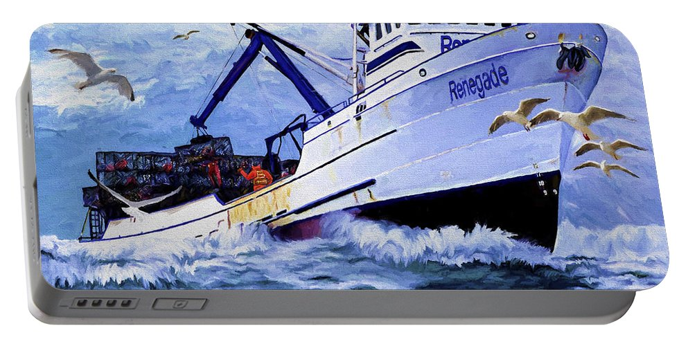 Alaskan King Crabber Portable Battery Charger featuring the painting Time To Go Home by David Wagner