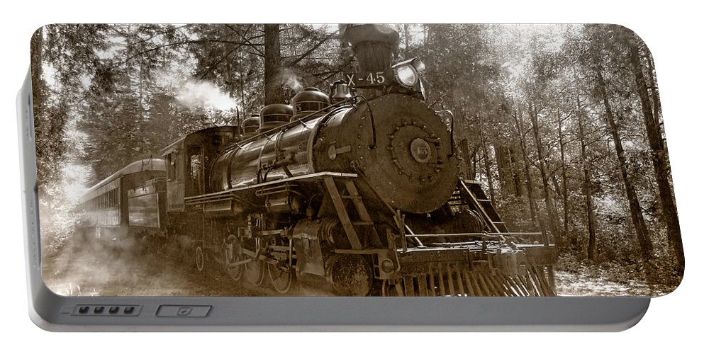 Locomotive Portable Battery Charger featuring the photograph Time Traveler by Donna Blackhall