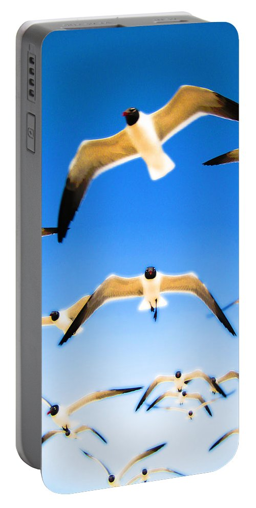 Seagulls Portable Battery Charger featuring the Timeless Seagulls by Anthony Scarpace