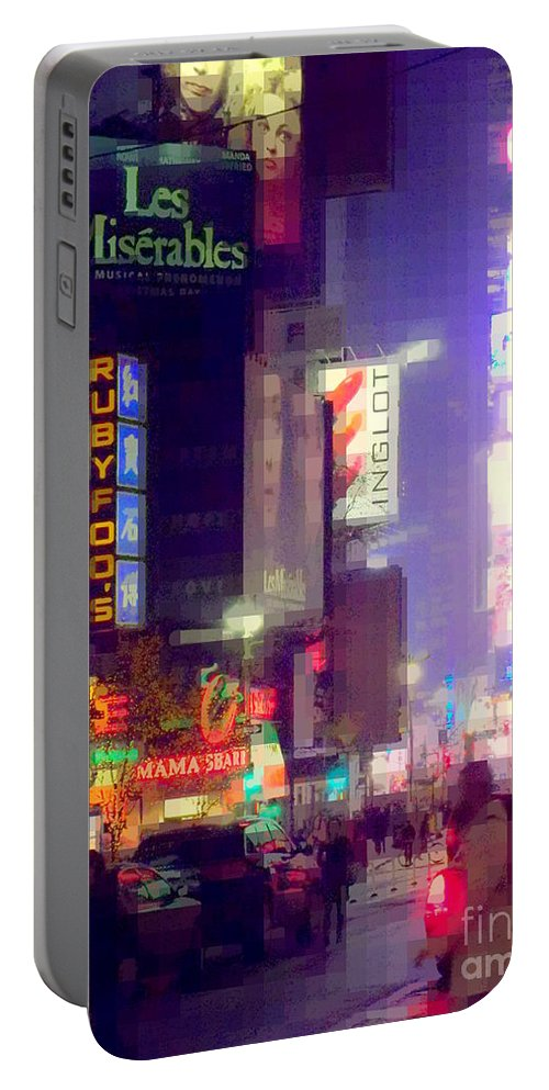 Times Square Portable Battery Charger featuring the photograph Times Square At Night - Columns Of Light by Miriam Danar
