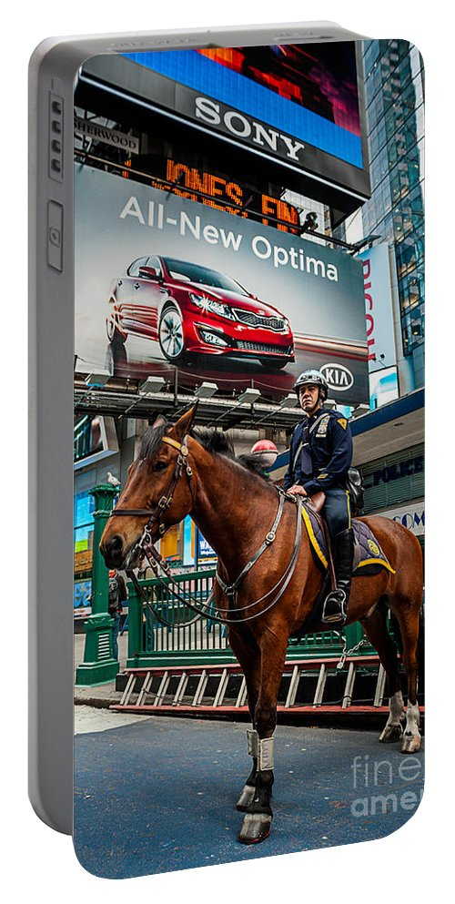 New York City Portable Battery Charger featuring the photograph Times Square Horse Power by Ray Warren