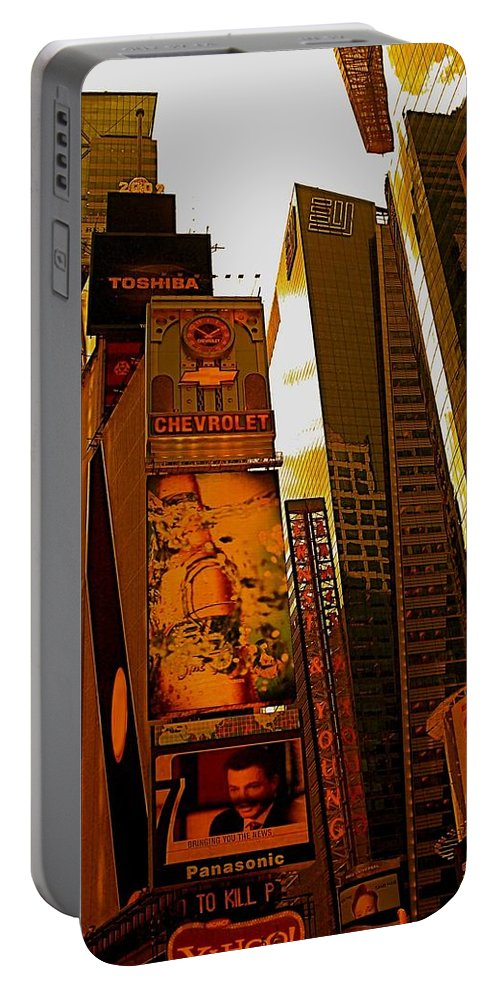 Manhattan Posters And Prints Portable Battery Charger featuring the photograph Times Square In Manhattan by Monique's Fine Art