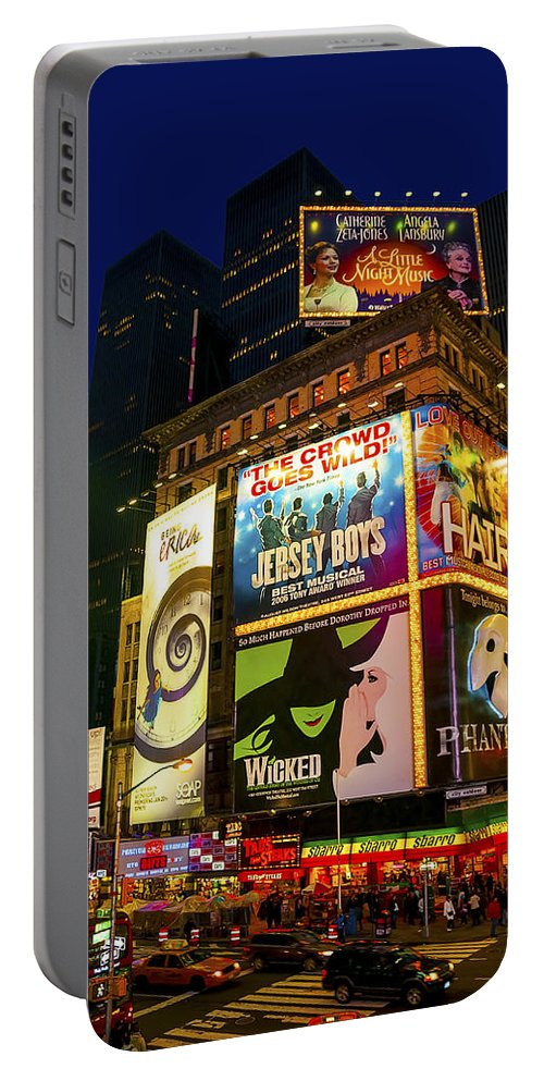 America Portable Battery Charger featuring the photograph Times Square by Svetlana Sewell