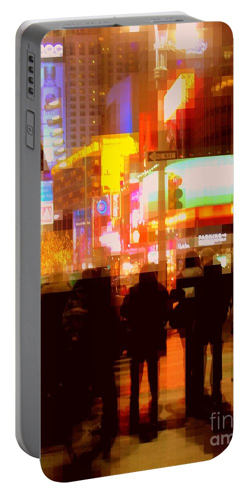 Night Portable Battery Charger featuring the photograph Times Square - The Lights Of New York by Miriam Danar