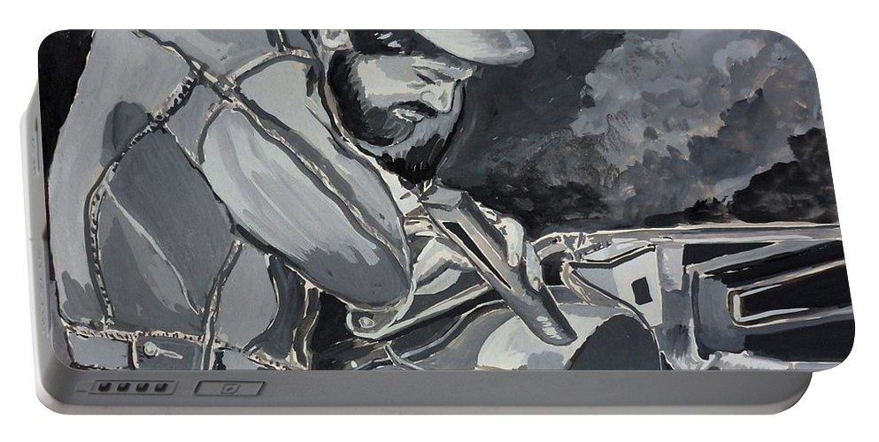 Mechanics Portable Battery Charger featuring the painting Timing Is Everything - Father Son Art by Julie Brugh Riffey