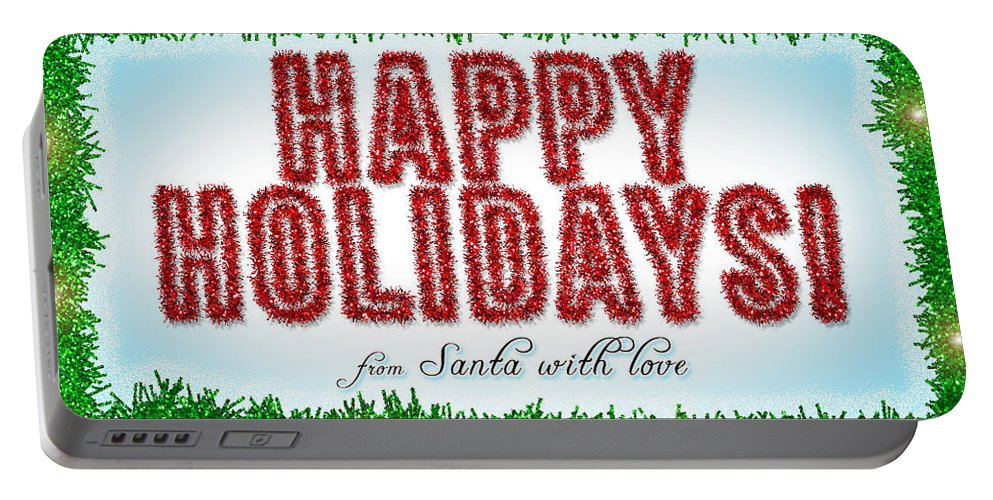 Greeting Card Portable Battery Charger featuring the painting Tinsel Greeting Card Digital Art by Georgeta Blanaru