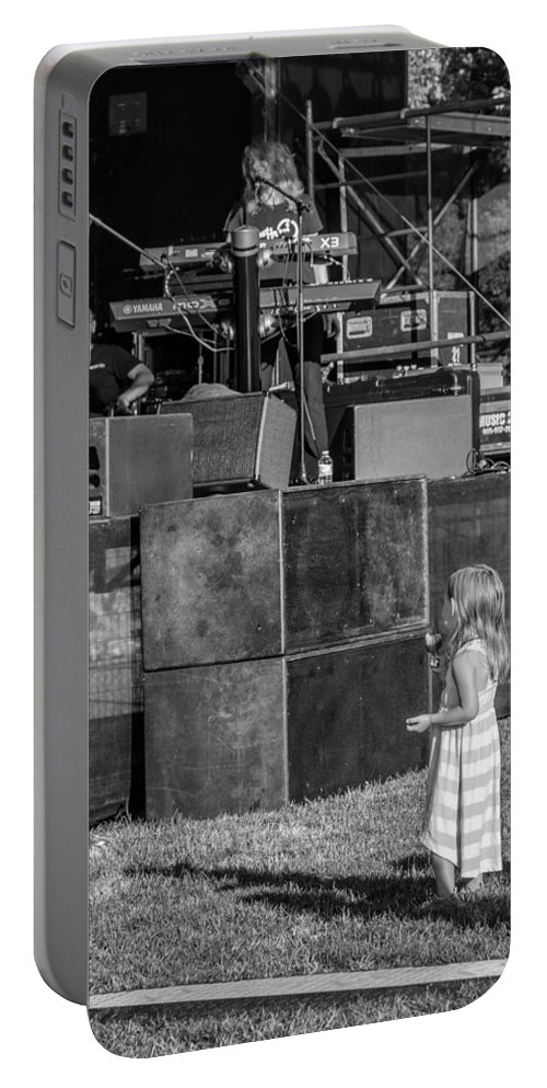 Bolton Portable Battery Charger featuring the photograph Tiny Dreamer Monochrome by Steve Harrington