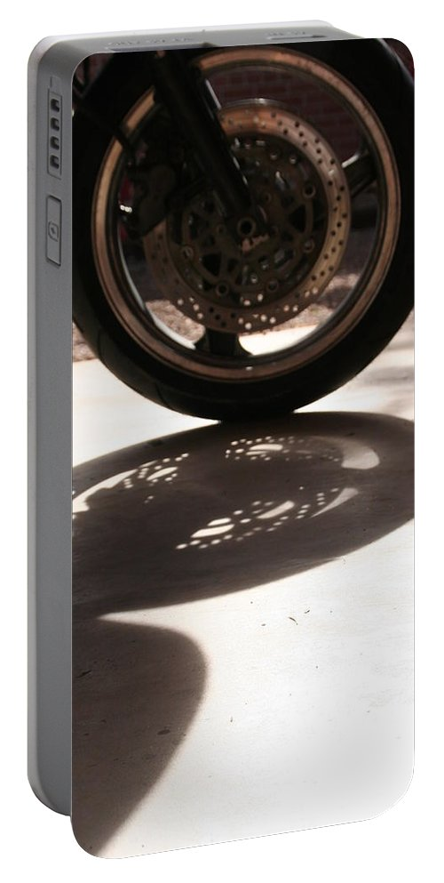 Motorcycle Portable Battery Charger featuring the photograph Tire by David S Reynolds