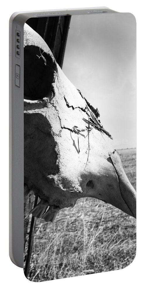 Skull Portable Battery Charger featuring the photograph Tired Bones by The Artist Project