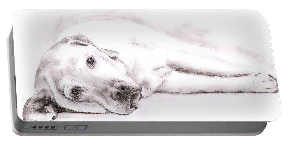 Dog Portable Battery Charger featuring the drawing Tired Labrador by Nicole Zeug