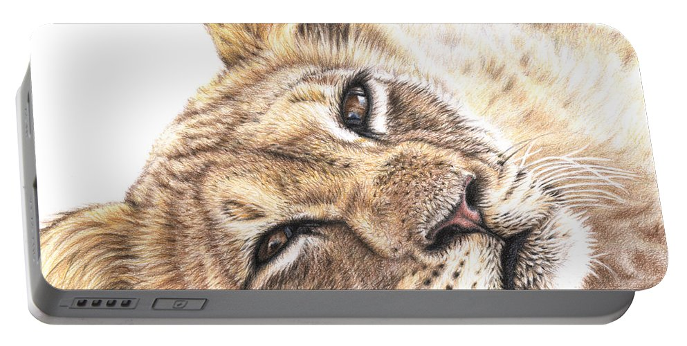 Lion Portable Battery Charger featuring the drawing Tired Young Lion by Nicole Zeug