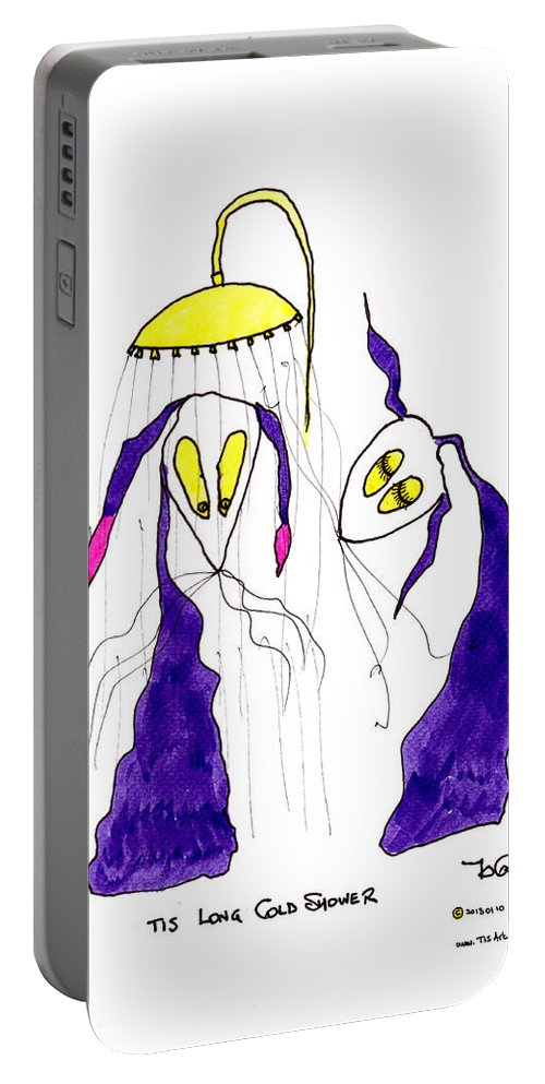 Shower Portable Battery Charger featuring the painting Tis Long Cold Shower by Tis Art