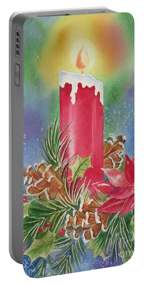 Holiday Portable Battery Charger featuring the painting Tis The Season by Deborah Ronglien