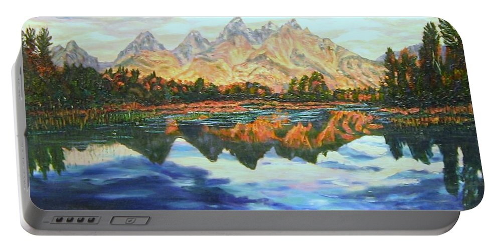 Titons Portable Battery Charger featuring the painting Titon Reflections by Richard Nowak