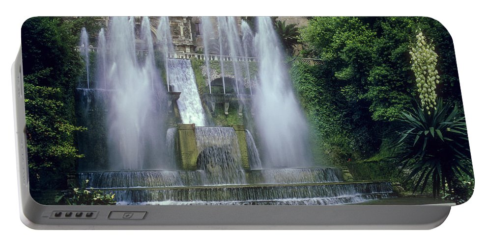 Tivoli Gardens Rome Fountain Fountains Water Structure Structures Landscape Landscapes Tree Trees Italy Yucca Plant Plans Yuccas Cityscape Cityscapes Cities City Portable Battery Charger featuring the photograph Tivoli Garden Fountain by Bob Phillips