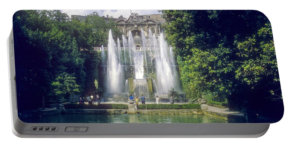 Tivoli Gardens Rome Fountain Fountains Water Structure Structures Landscape Landscapes Tree Trees Italy Cityscape Cityscapes Cities City Waterscape Waterscapes Portable Battery Charger featuring the photograph Tivoli Garden Fountain Reflection by Bob Phillips