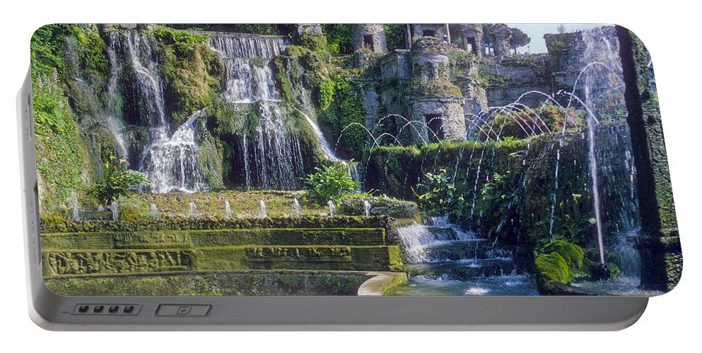 Tivoli Gardens Rome Fountain Fountains Water Structure Structures Landscape Landscapes Tree Trees Italy Plant Plans Portable Battery Charger featuring the photograph Tivoli Garden Fountains by Bob Phillips