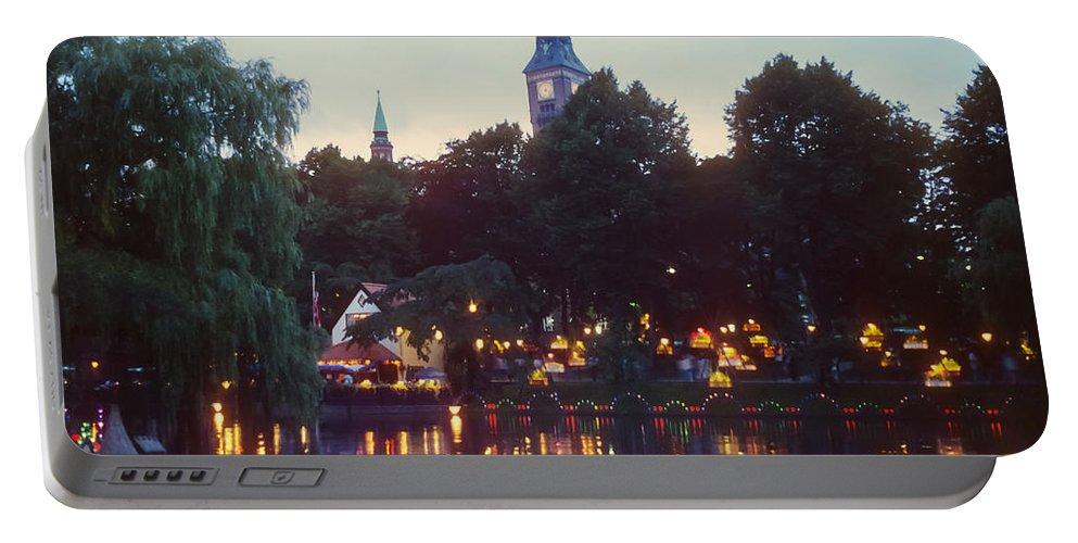 Tivoli Gardens Portable Battery Charger featuring the photograph Tivoli Night Lights by Bob Phillips