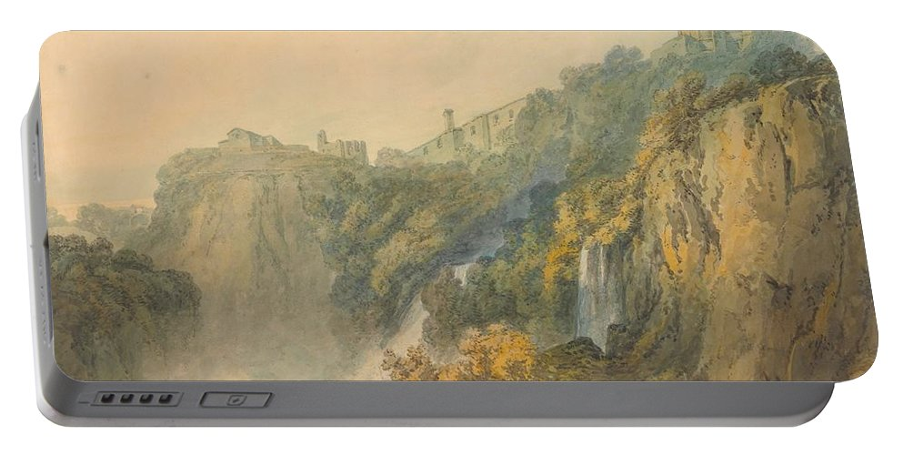 1796 Portable Battery Charger featuring the painting Tivoli With The Temple Of The Sybil And The Cascades by JMW Turner