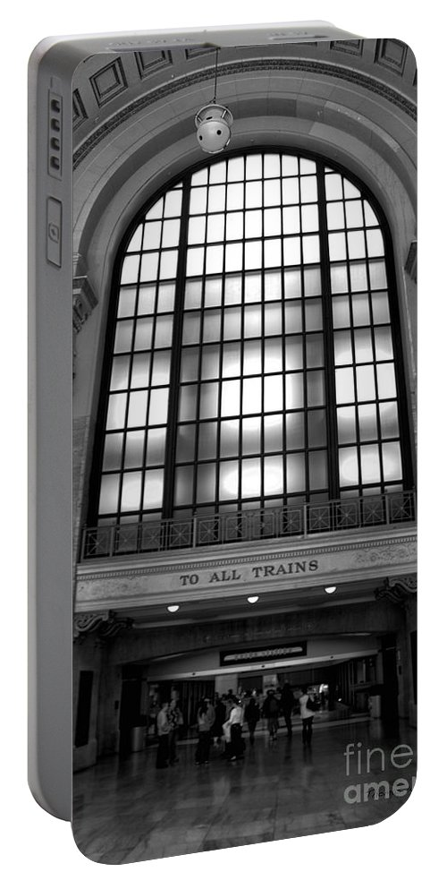 Union Station Portable Battery Charger featuring the photograph To All Trains Chicago Union Station by Thomas Woolworth