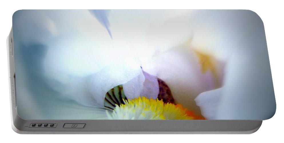 White Portable Battery Charger featuring the photograph To Enter The White Iris by Renee Croushore