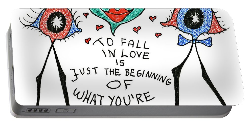 Genia Portable Battery Charger featuring the drawing To Fall In Love by Genia GgXpress