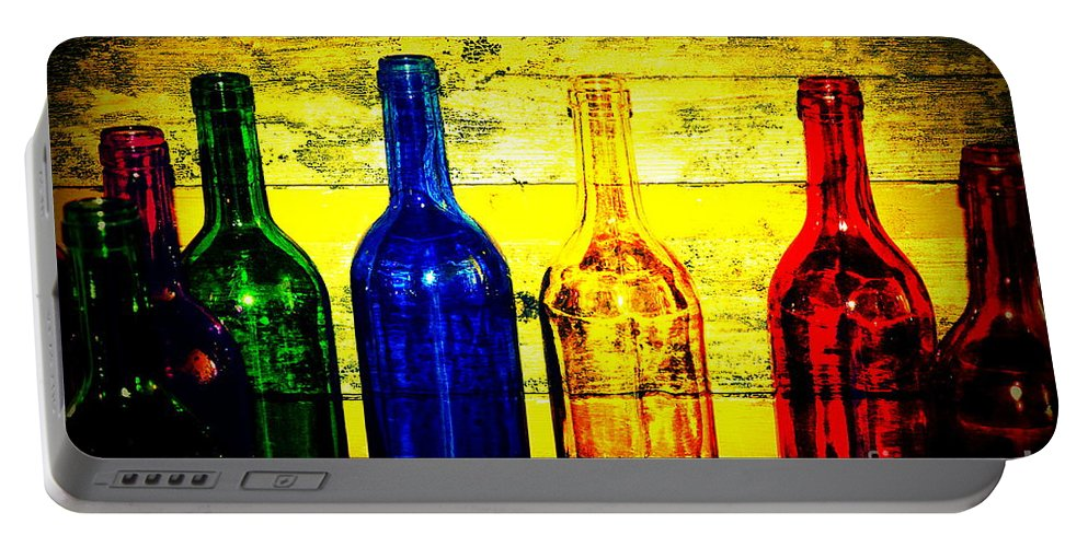 Wine Bottles Portable Battery Charger featuring the photograph To Much Of Wine by Susanne Van Hulst