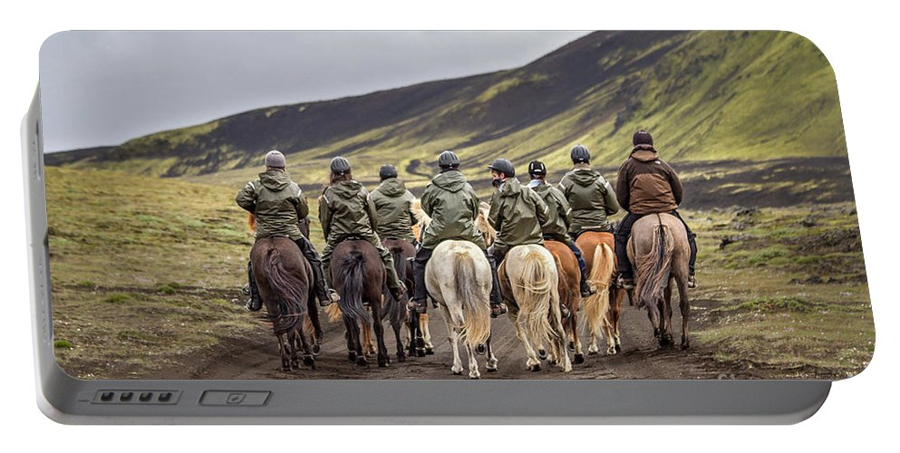 Landmannalaugar Portable Battery Charger featuring the photograph To Ride The Paths Of Legions Unknown by Evelina Kremsdorf