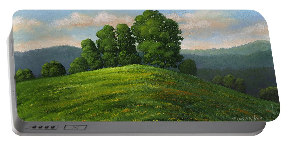 Landscape Portable Battery Charger featuring the painting Toboggan Hill by Frank Wilson