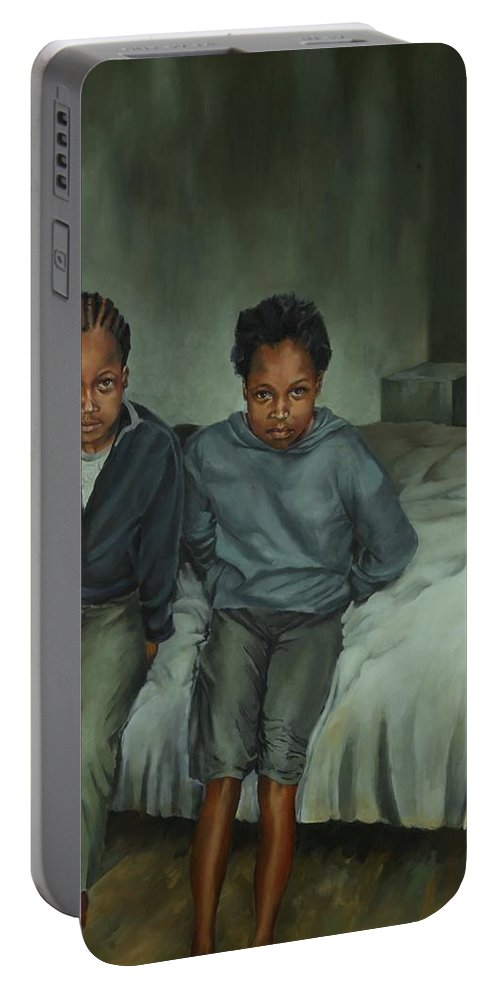 Portrait Portable Battery Charger featuring the painting Together Alone by Jolante Hesse