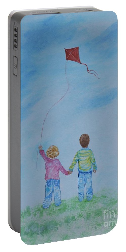Children Painting Portable Battery Charger featuring the painting Together Flying by Leslie Allen
