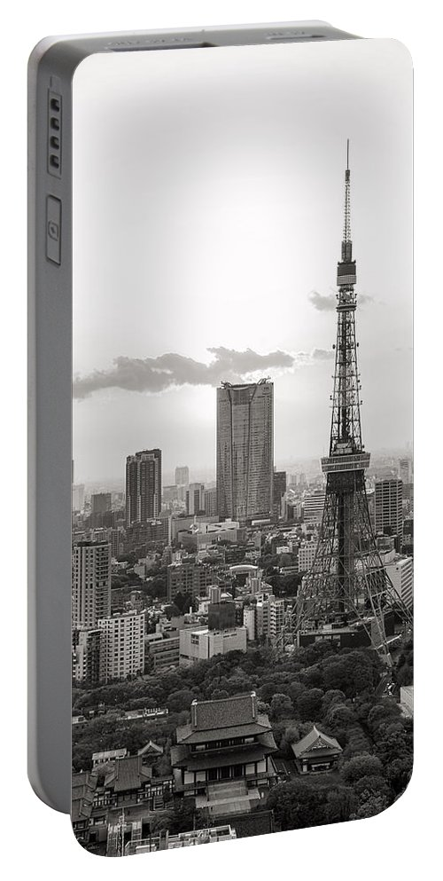 Tokyo Portable Battery Charger featuring the photograph Tokyo Tower And The Zozo-ji Temple by For Ninety One Days