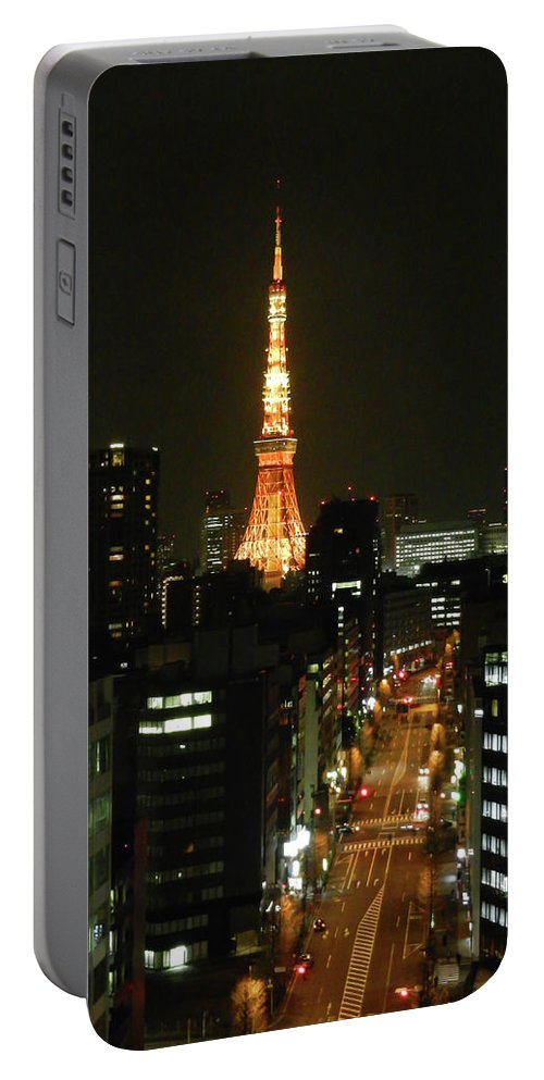 Guy Whiteley Photography Portable Battery Charger featuring the photograph Tokyo Tower At Night by Guy Whiteley