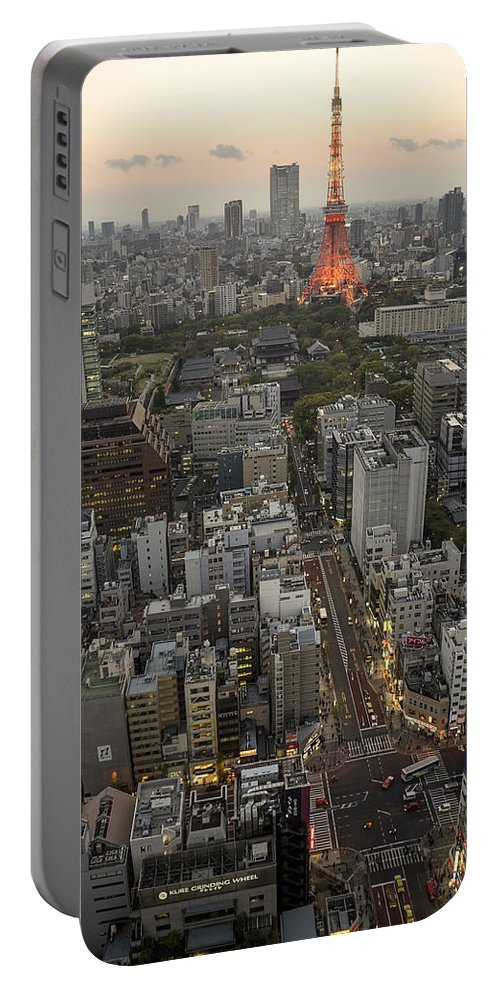 Best View Portable Battery Charger featuring the photograph Tokyo Tower Sunset by For Ninety One Days