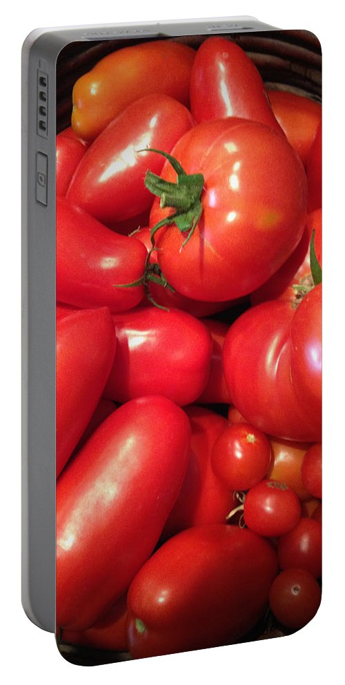 Tomato Portable Battery Charger featuring the photograph Tomato Harvest by Tim Nyberg