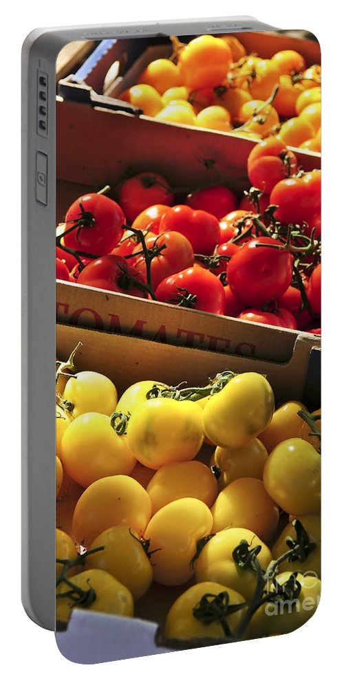 Tomato Portable Battery Charger featuring the photograph Tomatoes On The Market by Elena Elisseeva