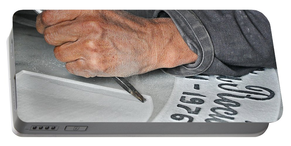 Death Portable Battery Charger featuring the photograph Tombstone Engraver At Work by Jess Kraft