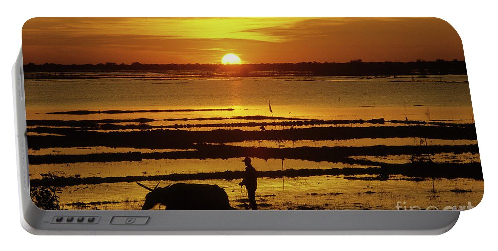 Cambodia Portable Battery Charger featuring the photograph Tonle Sap Sunrise 01 by Rick Piper Photography
