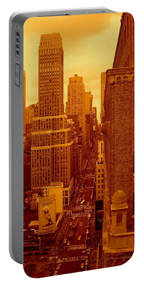 Manhattan Posters And Prints Portable Battery Charger featuring the photograph Top Of Manhattan by Monique's Fine Art
