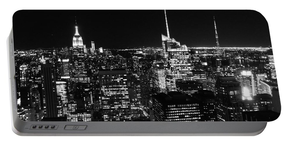 Top Of The Rock Portable Battery Charger featuring the photograph Top Of The Rock In Black And White by Dan Sproul
