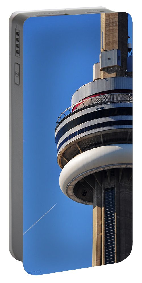 Toronto Portable Battery Charger featuring the photograph Toronto Cn Tower Moon And Jet Trail by Ursa Davis